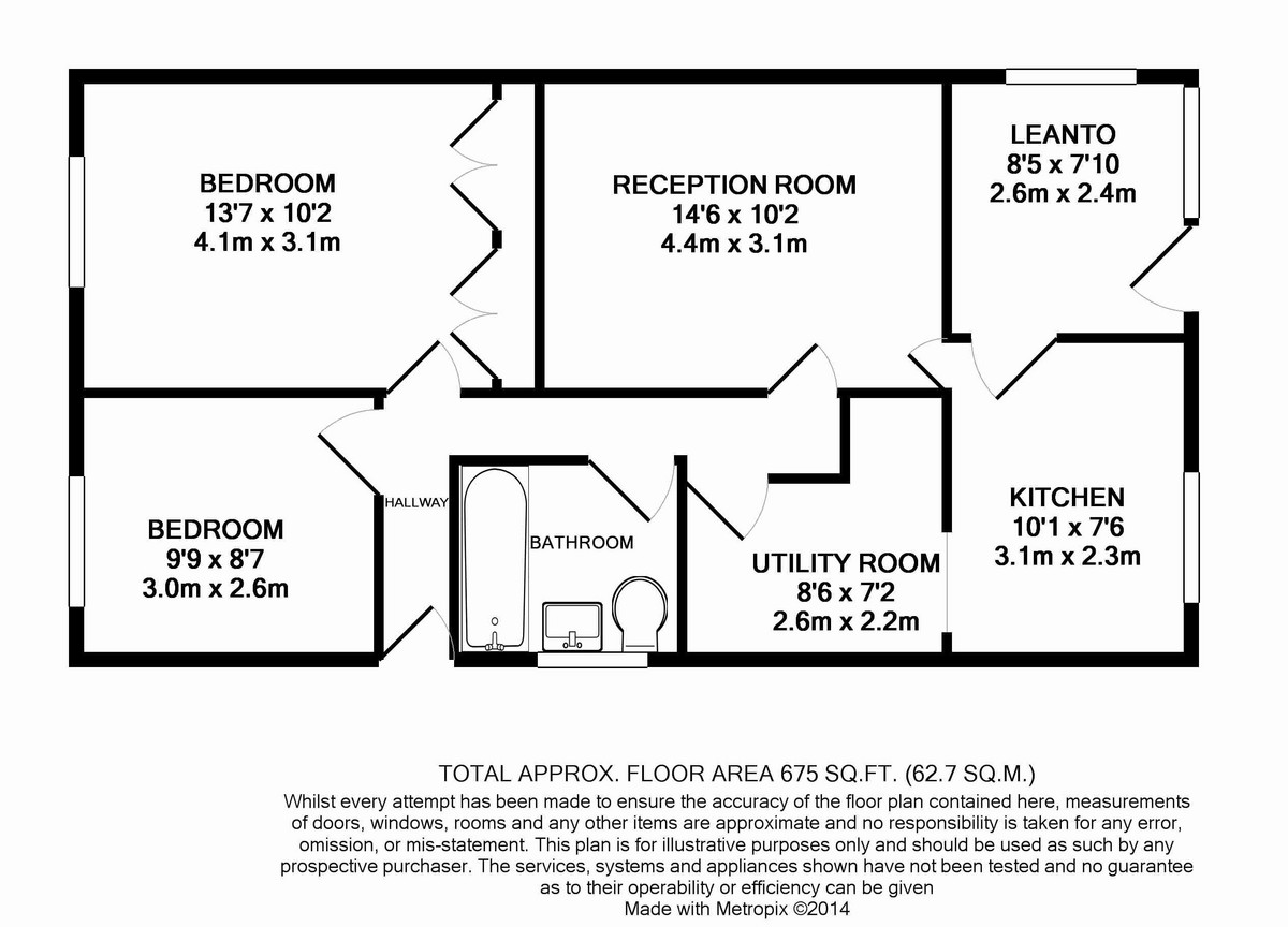Floorplan of 2 bedroom Detached Bungalow for sale